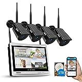 WLAN Überwachungskamera Aussen Set, Funk Überwachungssystem mit 12...