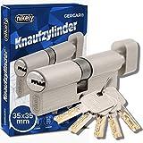 GERCAR Pro 70 mm Knaufzylinder 35/35 Massiver Schließzylinder mit...
