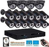 LONNKY 16CH Full 1080P Überwachungskamera System mit 2TB HDD, 5 in 1...